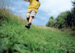 Boy Walking Outdoors stock image