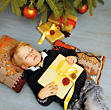 Boy With Christmas Gifts stock photography