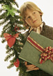 Boy with Christmas Present stock photo
