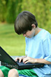 Boy Working on Laptop stock photography