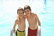 Playful Boys at the Pool stock photo