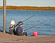 Elementary Boys Fishing stock photo