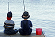 Boys Fishing stock photography