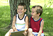 Boys Laughing Together stock image