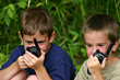 Boys on Walkie Talkies stock image