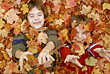 Boys Playing in the Leaves stock photography