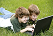 Boys Playing on the Computer stock image