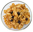 Bran And Raisin Cereal In A Bowl stock photo