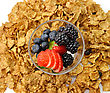 Bran And Raisin Cereal With Fruits And Berries stock photography