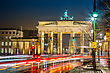 BRANDENBURG GATE, Berlin, Germany At Night. Road Side View
