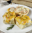Bread Rolls Stuffed With Chicken Meat And Cheese stock image