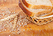 Bread With Wheat And Ears On Plate stock photo