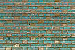 Brickwork Weathered Stained Old Green Brick Wall Background stock photo