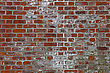 Brickwork Weathered Stained Old Red Brick Wall Background stock photo