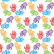 Bright Adults And Kid's Hands, Seamless Background, Vector Illustration stock illustration
