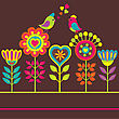 Bright Colorful Funny Vector Composition With Flowers And Birds