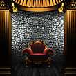 Exterior Bronze Columns And Chair Made In 3D stock illustration