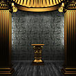 Bronze Columns, Pedestal And Tile Wall Made In 3D