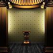 Luxury Bronze Columns, Pedestal And Tile Wall Made In 3D stock image