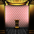 Luxury Bronze Columns, Pedestal And Wallpaper Made In 3D stock image