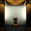 Bronze Columns, Pedestal And Wallpaper Made In 3D stock illustration