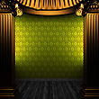Bronze Columns And Wallpaper Made In 3D stock image