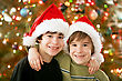 Brothers at Christmas stock image