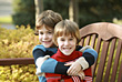 Brothers Hugging stock photo