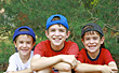 Brothers in Baseball Hats stock photography