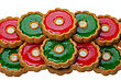 Brown Cookies With Red And Green Jelly stock image
