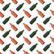 Brown Glass Beer Bottles Seamless Pattern On White Background