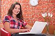 Brunette With Computer stock photography
