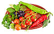 Brush Small Red Tomatoes, Two Cayenne, Brush Black Chokeberry With Leaves, A Sprig Of Parsley, Tarragon On A Ceramic Oval Plate Isolated stock image