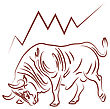 Bull Image And Bulish Stock Market Trend Vector Illustration