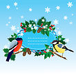 Bullfinch And Tit With Christmas Tree - Oval Frame