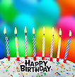 Celebrate Burning Candles On A Birthday Cake On The Background Of Balloons stock image