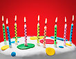 Burning Candles On A Birthday Cake On Red Background stock image