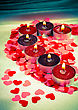 Burning Candles Heart Shaped On A Light Background With Shallow Depth Of Field stock photo