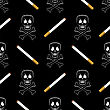 Burning Cigarette And Skull Seamless Pattern On Black Background