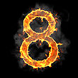 Burning And Flame Font 8 Numeral Over Black Background