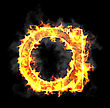 Burning And Flame Font A Letter Over Black Background