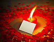 Burning Heart Shaped Candle And A Card With 'I Love You' Writing stock photo