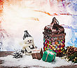 Burning Lantern And Christmas Decorations In The Snow stock photo