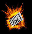 Burning Ticket. Vector Illustration With Fire On A Black Background