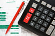 Business Concept. Calculator,pen And The Financial Reports. stock photography