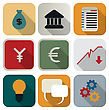 Business Or Finance Flat Appication Icon Set Over White Background