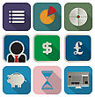 Business People & Computer Business Or Finance Flat Appication Icon Set Over White Background stock illustration