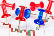 Business Growth Chart With Red And Blue Push-pins stock photo