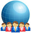 Business Men And Women With Globe stock illustration