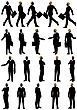 Business Silhouette Set. Very Detail With Removabale Spectacles. Vector Illustration
